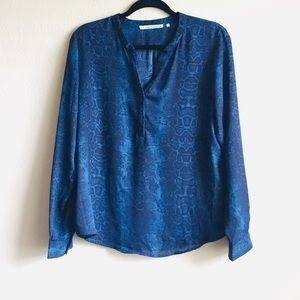 VIOLET & CLAIRE Blue Snakeskin Blouse
